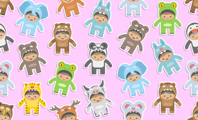 Seamless pattern with kids in Animals costumes, flat style. isolated on pink background