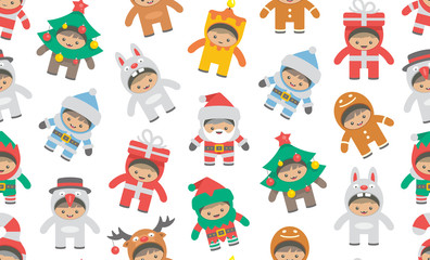 Seamless pattern with kids in Christmas costumes, flat style. isolated on white background