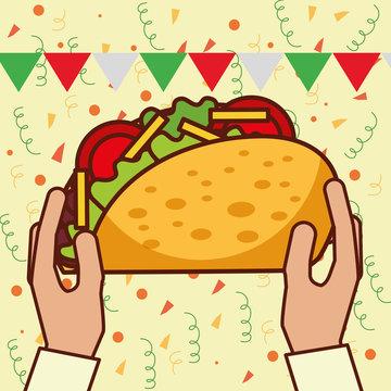 hands holding big taco mexican food vector illustration