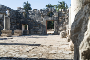The inner  hall in ruins of the Big Sinagogue of the Talmudic Period in Bar'am National Park in Israel.