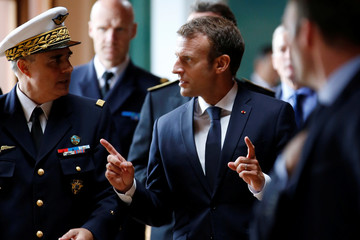 French President Emmanuel Macron attends a visit at the 721 Rochefort air base in Saint-Agnant