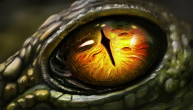 Digital art of lizard eyes.