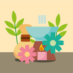 aromatherapy hot compresses candle and flowers decoration spa wellness vector illustration