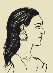 Beautiful woman with long black hair. Female face in profile.Fashion icon for Beauty salon. Profile of sensual young girl on light beige background.Black line drawing. Isolated vector illustration.EPS