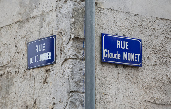 Road signs in Giverny, once home to the famous impressionist painter Claude Monet