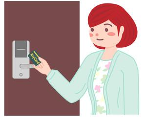 カードキーを使う女性