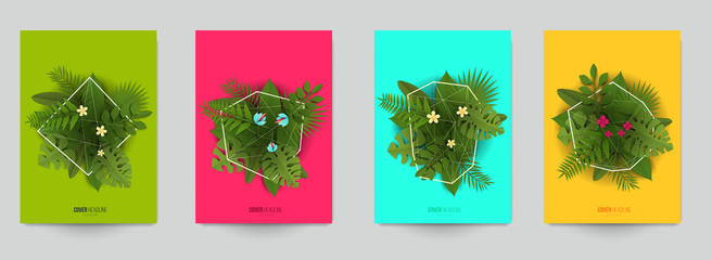 Set background for covers, invitations, posters, banners, flyers, placards. Minimal template design for branding, advertising with exotic tropical leaves in paper cut style. Vector illustration.