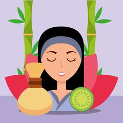 beautiful woman hot compress fruit flower herbal spa wellness vector illustration