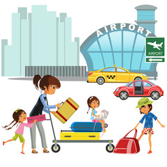 Family woman with girls in taxi waiting transfer to airport. Mom with three children carrying trolley with luggage on city street near red car vector illustration
