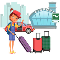 Womanan and her luggage came by car and ready to flight, auto transfer to airport building vector illustration, girl holding suitcase for airline travel
