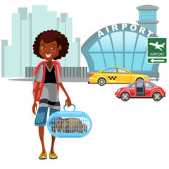 African American Womanan and her luggage came by taxi car and ready to flight, auto transfer to airport vector illustration, girl holding pets for airline travel