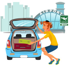 man takes luggage out of car and ready for travel travel by airplane flight, auto transfer to airport. Guy on city street near automobile vector illustration