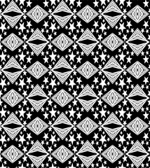Intricate seamless pattern with five-pointed stars and diamonds