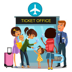 Airport employee checks boarding passports - passports, tickets from people passing gate, Family with baby travels by airplane, Woman child talking to officer vector illustration