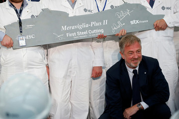 Pierfrancesco Vago, Executive Chairman of MSC Cruises attends, a ceremony at the STX France shipyard site in Saint-Nazaire