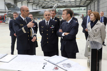 French President Emmanuel Macron visits the French Air Force base 721 Rochefort in Saint-Agnant