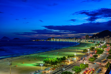 Night view of Copacabana beach and Avenida Atlantica in Rio de Janeiro, Brazil