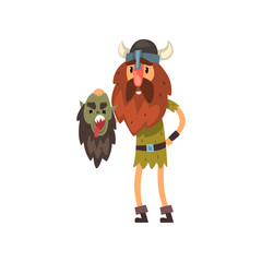 Viking holding head of his dead enemy in his hands, medieval cartoon character vector Illustration