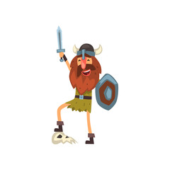 Viking celebrating victory with sword and shield, medieval cartoon character vector Illustration