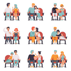 Couples sitting in cinema theatre and watching movie set, men and women on movie date vector