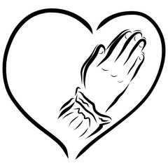 Heart and hands of a praying woman, religion and faith