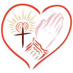 hands of a praying woman and a shining cross in a heart-shaped frame