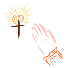 Cross with a shining heart and hands of a praying