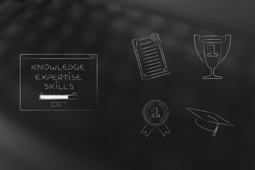 knowledge loading pop-up next to group of education accomplishment icons from degree to trophy and from 1st place winner medal to graduation cap