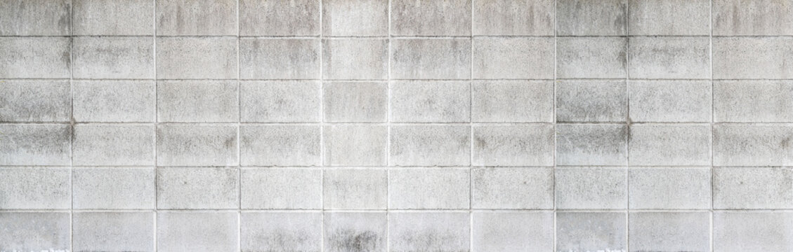 Panorama of Cement block wall pattern and background