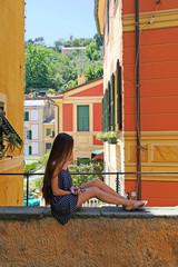 Ligurie portofino girl long hair italy panorama liguria dress traveling