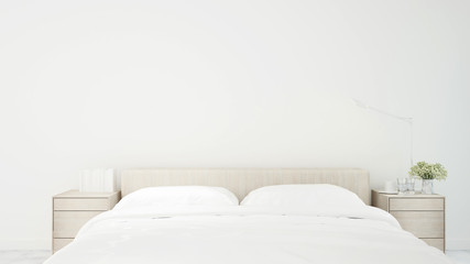 White bedroom simple design for artwork - Bedroom minimal design in apartment or hotel - 3D Rendering