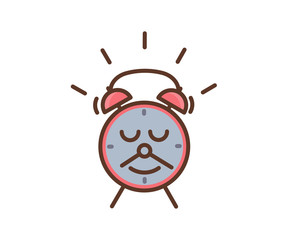 Cute alarm clock character with a smile and a mustache made of the minutes and hours pointer arrows. Vector icon illustration for morning and waking up subjects, education, kids, school, students