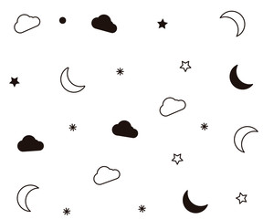 Seamless pattern with moon, stars, clouds for night time subjects. Perfect for wallpapers, clothing, pajamas, apparel, printing, web backgrounds related with bed time.