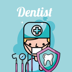 dentist boy tooth protection instrument care vector illustration