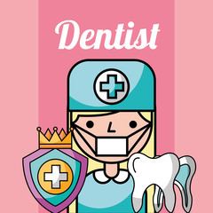 dentist girl cartoon protection dental tooth vector illustration