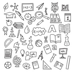 School education doodle set , hand drawn vector design elements