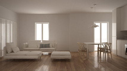 Modern clean living room with kitchen and dining table, sofa, pouf and chaise longue, minimal white interior design
