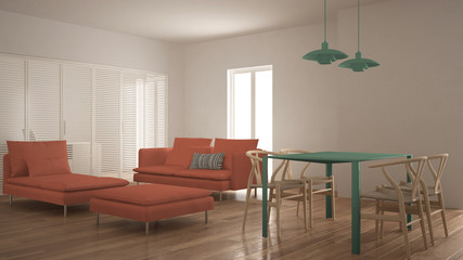 Modern clean living room with sliding door and dining table, sofa, pouf and chaise longue, minimal green and orange interior design
