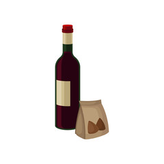 Bottle of red wine and nuts in small paper bag. Alcoholic beverage. Liquor store. Flat vector elements for banner or poster