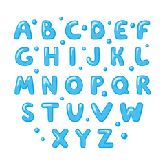 Childish cute English Alphabet. Bold and shiny doodle font. Cartoon letters. Vector template.