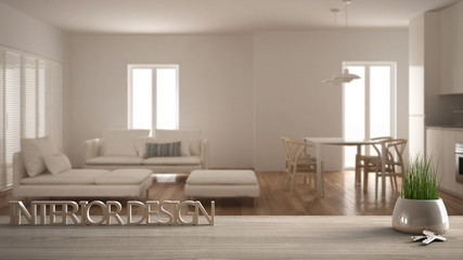 Wooden table, desk or shelf with potted grass plant, house keys and 3D letters making the words interior design, over blurred modern living room, project concept copy space background