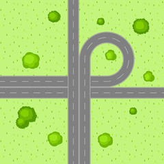 Top view of road junction.