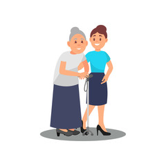Young girl volunteer caring for elderly woman. Old lady with walking stick and social worker. Volunteering theme. Flat vector design