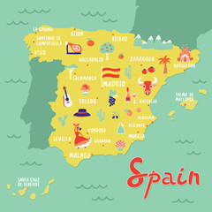Vector map of Spain with landmarks, people, food and plants. Travel map.