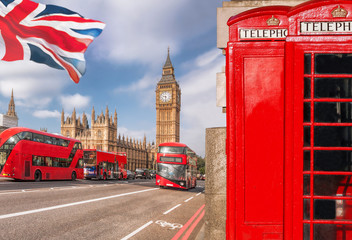 Fototapete - London symbols with BIG BEN, DOUBLE DECKER BUS and Red Phone Booths in England, UK