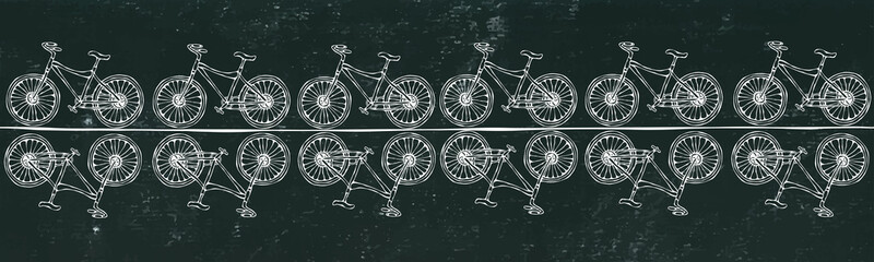 Black Board Background. Endless Pattern Brush or Ribbon of Bicycles Bike Background. Realistic Hand Drawn Illustration. Savoyar Doodle Style.