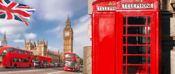Photo on textile frame London red bus London symbols with BIG BEN, DOUBLE DECKER BUS and Red Phone Booths in England, UK