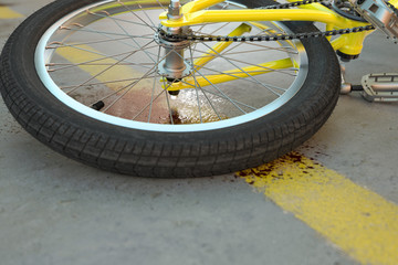 Bicycle accident with blood on the street - 3D Rendering