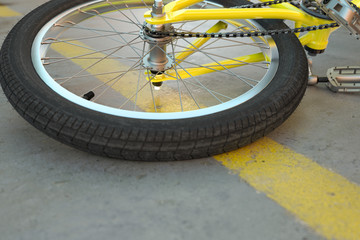 Bicycle accident without blood on the street - 3D Rendering
