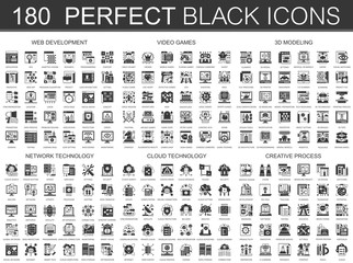 180 web development, video games, 3d modeling, network technology, cloud data technology, creative process classic black mini concept symbols. Vector modern icon pictogram illustrations set.